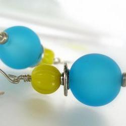 Turquoise and yellow glass on sterling silver handmade earwires